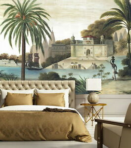 Image Is Loading Vintage Castle Palm Tree River Wallpaper Wall Decals
