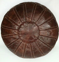 Xxl Moroccan Hand Stitched 100% Leather Pouffe / Floor Cushion / Ottoman