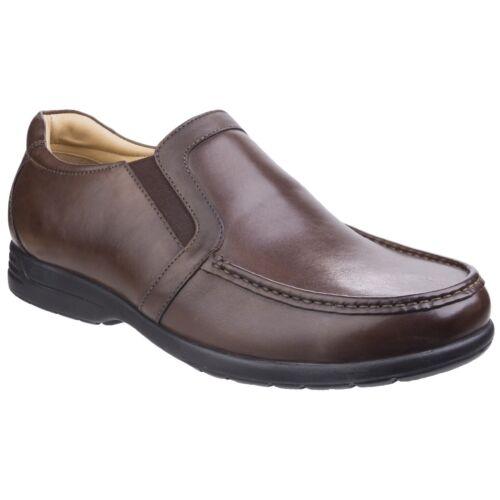 Fleet /& Foster Gordon Dual en Cuir Fit Style Mocassins Homme À Enfiler Chaussures UK 7-12