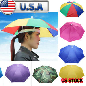 7ed4d4101 Details about New Outdoor Foldable Sun Umbrella Hat Camping Headwear  Foldable Head Cap USA
