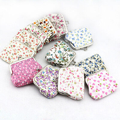 Summer Women Multicolor Cotton Fabric Hasp Coin Bags Floral Printed Coin Purses