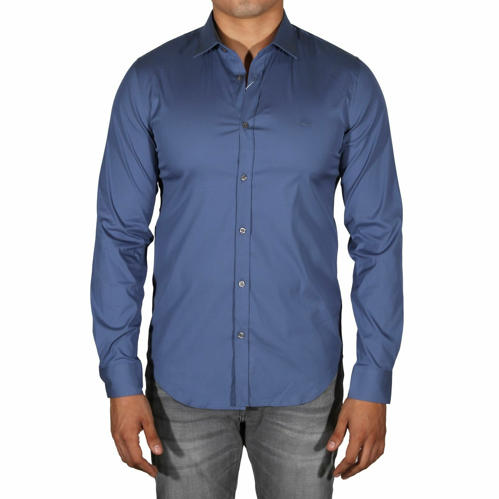 Lacoste Down Herren Slim Fit Stretch Long Sleeve Button Down Lacoste Shirt Avon Blau CH9628 022bbb