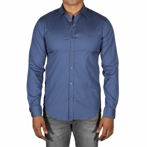 Lacoste Men/'s Slim Fit Stretch Long Sleeve Button Down Shirt Avon Blue CH9628