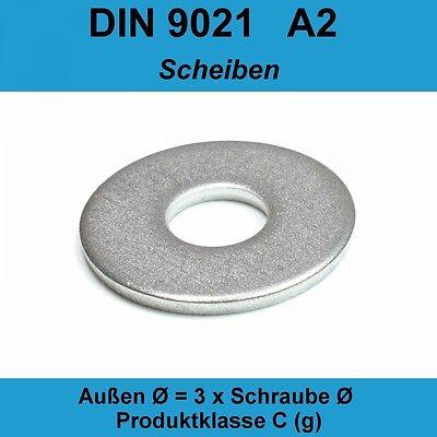 100 St/ück M8 8,4 mm Unterlegscheiben DIN 9021 Edelstahl A2 V2A VA Beilagscheiben