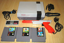 NINTENDO NES CONSOLE BUNDLE SET - 1 Pad + Zapper Gun + 3 Games