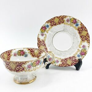 ANTIQUE-LM-Royal-Halsey-Very-Fine-Footed-Tea-Cup-Saucer-Roses-Burgundy-Floral