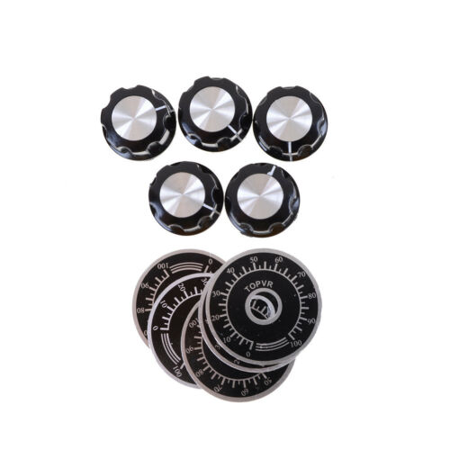 5set Black Rotary Potentiometer Knobs Caps with 5Pcs Counting Dial 0-100 ScaleS!