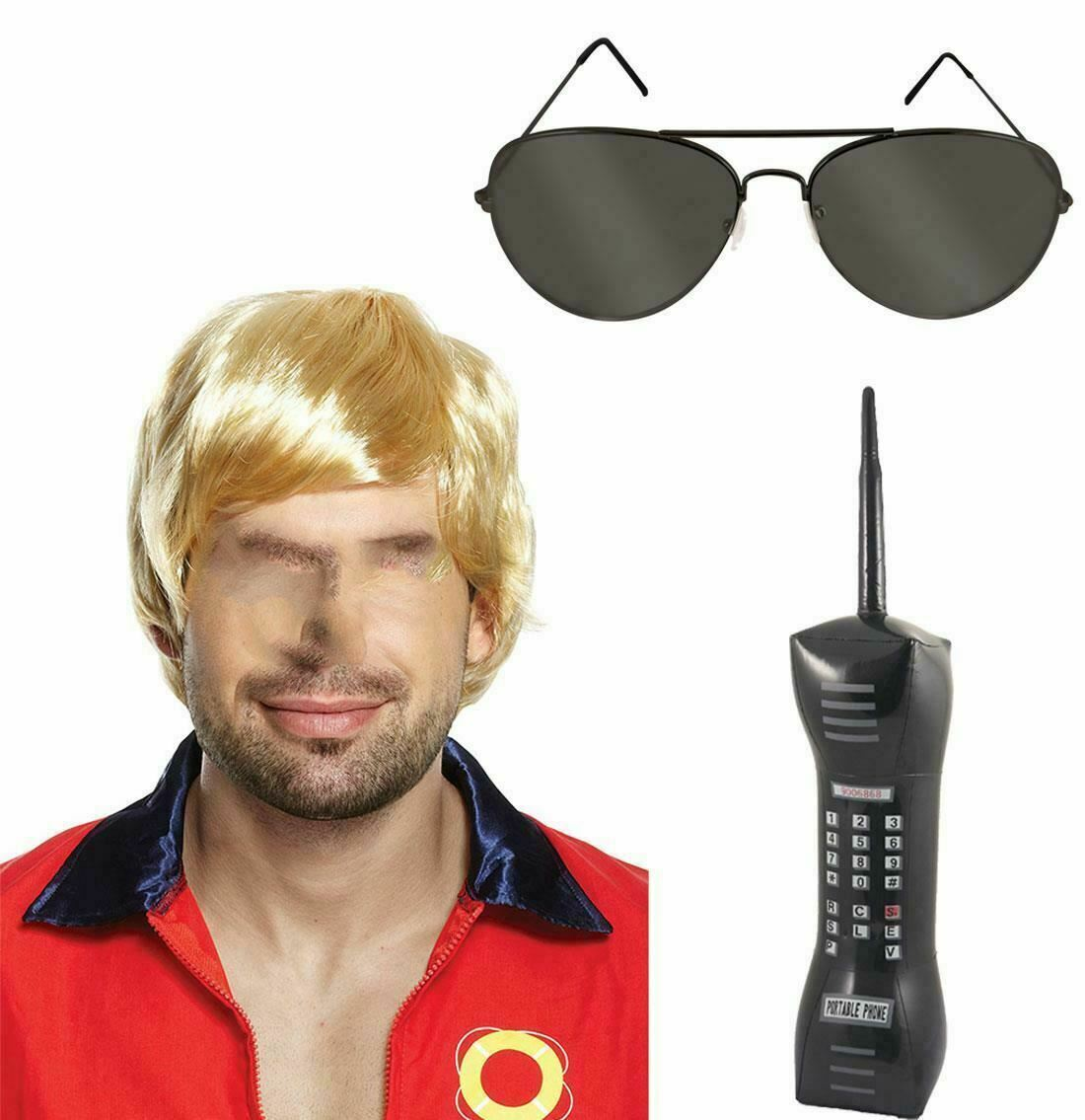 Mens 80s Party Fancy Costume Accessory Set Adults Inflatable Mobile Glasses Wig