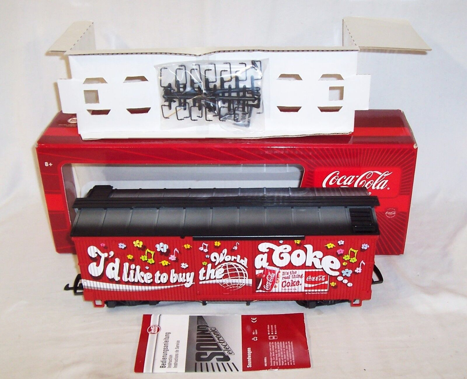 NEW LGB 46672 COCA COLA MUSICAL SOUND BOXCAR  - I'D LIKE TO BUY THE WORLD A COKE