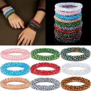Fashion-Crystal-Elastic-Natural-Gemstone-Moonstone-Bracelet-Beaded-Bangle-Gift