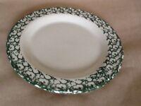Roseville Pottery Green Spongewear Plate Some Wear Discontinued Factory Henn