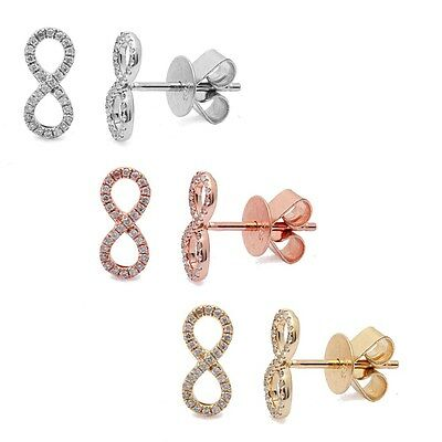 .11ct Diamond Infinity Sign Earrings available in 14kt White, Rose Yellow Gold