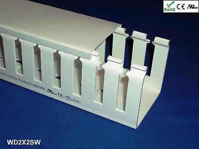 """12 New 2/""""x2/""""x2m Narrow Finger Open Slot Wiring Cable Raceway Duct White PVC"""