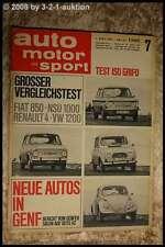 AMS Auto Motor Sport 7/67 Iso Grifo Fiat 850 NSU 1000 R4 VW Käfer 1200