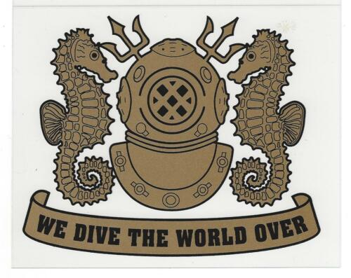NAVY DIVER STICKER U WE DIVE THE WORLD OVER GOLD S