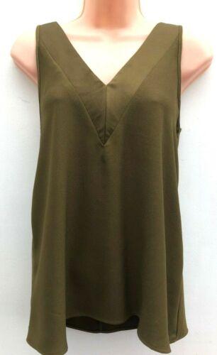 Ex River Island Sleeveless Blouse Vest Top Khaki Plum Sizes 6-12 FREE P/&P
