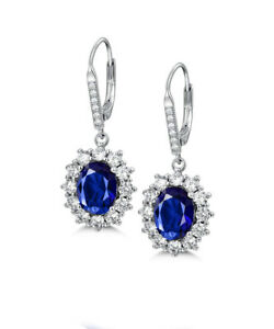 2CT-Top-Quality-Blue-Sapphire-amp-Topaz-18K-White-Gold-Plated-Earrings-Jewelry