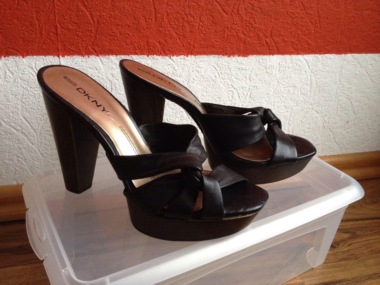 DKNY Schuhe Größe 36 schwarz Designer Pantolette Pumps Echtleder sommerlich