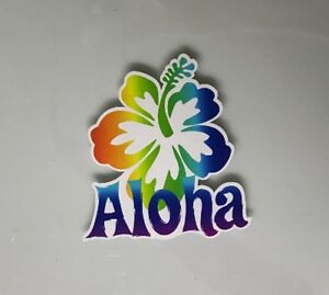 5a546ae27f4b Details about Aloha Sticker - Hibiscus Surf Hawaii Surfing Tropical Rainbow  Hawaiian Beach
