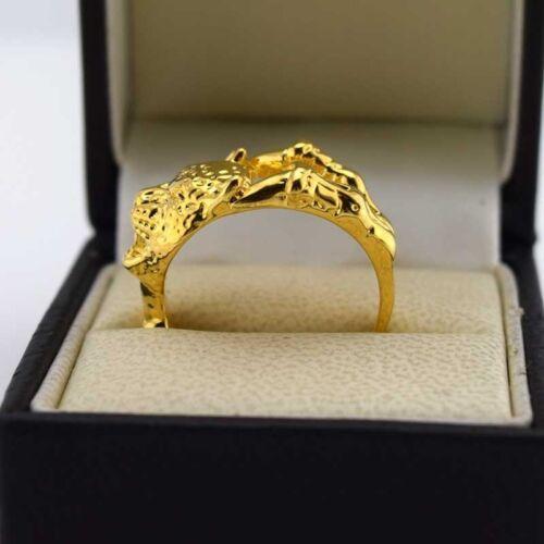 24k or Jaune Rempli Hommes Léopard Anneaux Charm Gold Filled Fashion Jewelry Punk Taille Choisir