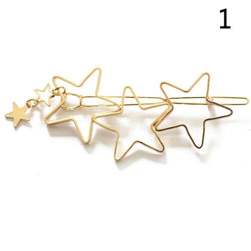 1Pcs épingle à cheveux Creux étoile à cinq branches et Cœur Forme Alliage Femmes Barrette Nouveau