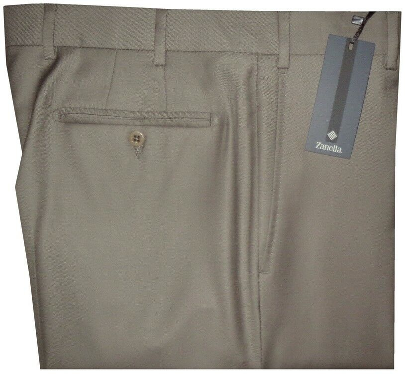 NEW ZANELLA DEVON SOLID TAN TAUPE SUPER 120'S WOOL MENS DRESS PANTS 35
