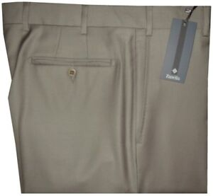 395-NWT-ZANELLA-DEVON-SOLID-TAN-TAUPE-SUPER-120-039-S-WOOL-MENS-DRESS-PANTS-35