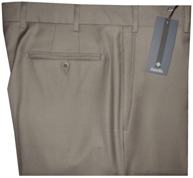 $395 NEW ZANELLA DEVON SOLID TAN TAUPE SUPER 120'S WOOL MENS DRESS PANTS 35