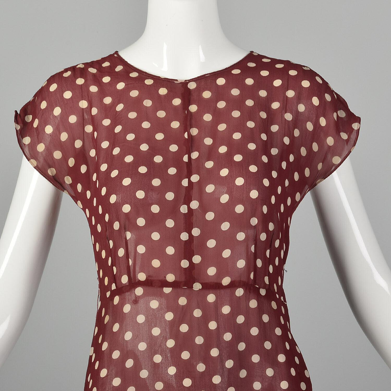 XXS 1930s Red Dress White Polka Dot Sheer Silk Ch… - image 5