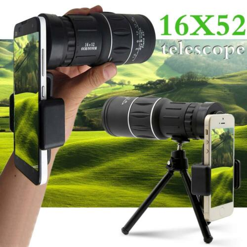 16X52 Zoom Optical Camera Lens Monocular Telescope + Tripod