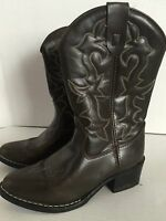 Stamped Children's Unisex Black Western Cowboy Boots Youth Size 2 Man Made