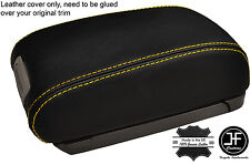 YELLOW STITCHING REAL LEATHER ARMREST LID COVER FITS HYUNDAI TUCSON 2004-2012