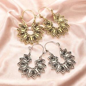 Bohemia-Argent-Or-Plaque-Creux-Lotus-Pendants-d-039-oreilles-pour-femme-Fleur-Bijoux