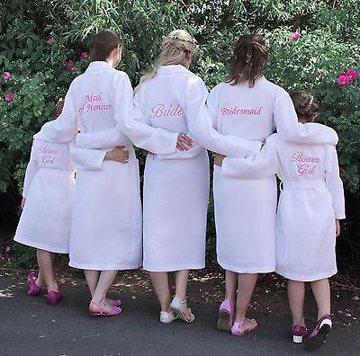 Personalised Wedding Day Waffle Bathrobe Dressing Gown, Bride Bridesmaid Bridal