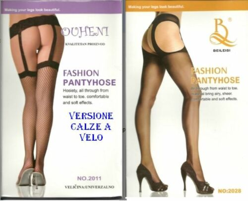 Calze Collant Donna Cavallo Aperto Finto Reggicalze OHUENI A706 Tg Unica