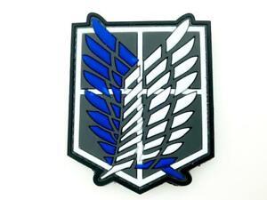 Shingeki No Kyojin Attack Titan Recon Corps Bleu Gris Airsoft Paintball PVC Cosplay Patch