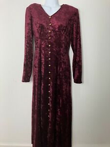 vintage 70s burgundy maroon velvet long sleeve dress