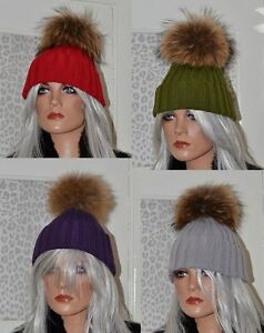 590eeddabf3 Image is loading Raccoon-Pom-Hat-Large-18cm-Fur-Pom-Beanie-