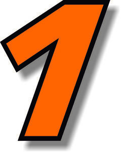 Orange 3 inch race number with black border number sticker /vinyl/graphic