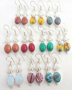 LOVELY-MIX-GEMSTONE-10PR-WHOLESALE-LOT-925-STERLING-SILVER-OVERLAY-EARRING
