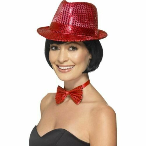 Women/'s Red Sequin Trilby Hat Fancy Dress Dance Gangster Hen Theme Party Fun Do
