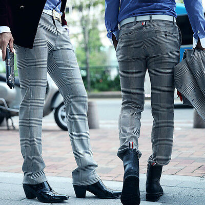 ByTheR Mens Glen-check Tape Point Pants Classic Fashion P000BFJL