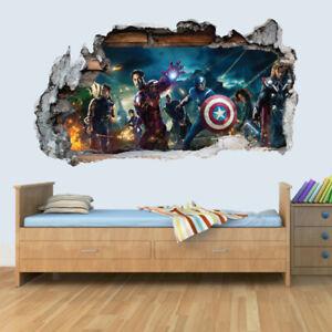 Marvel-Avengers-Vinyl-Smashed-Wall-Art-Decal-Stickers-Bedroom-Boys-Girls-3D