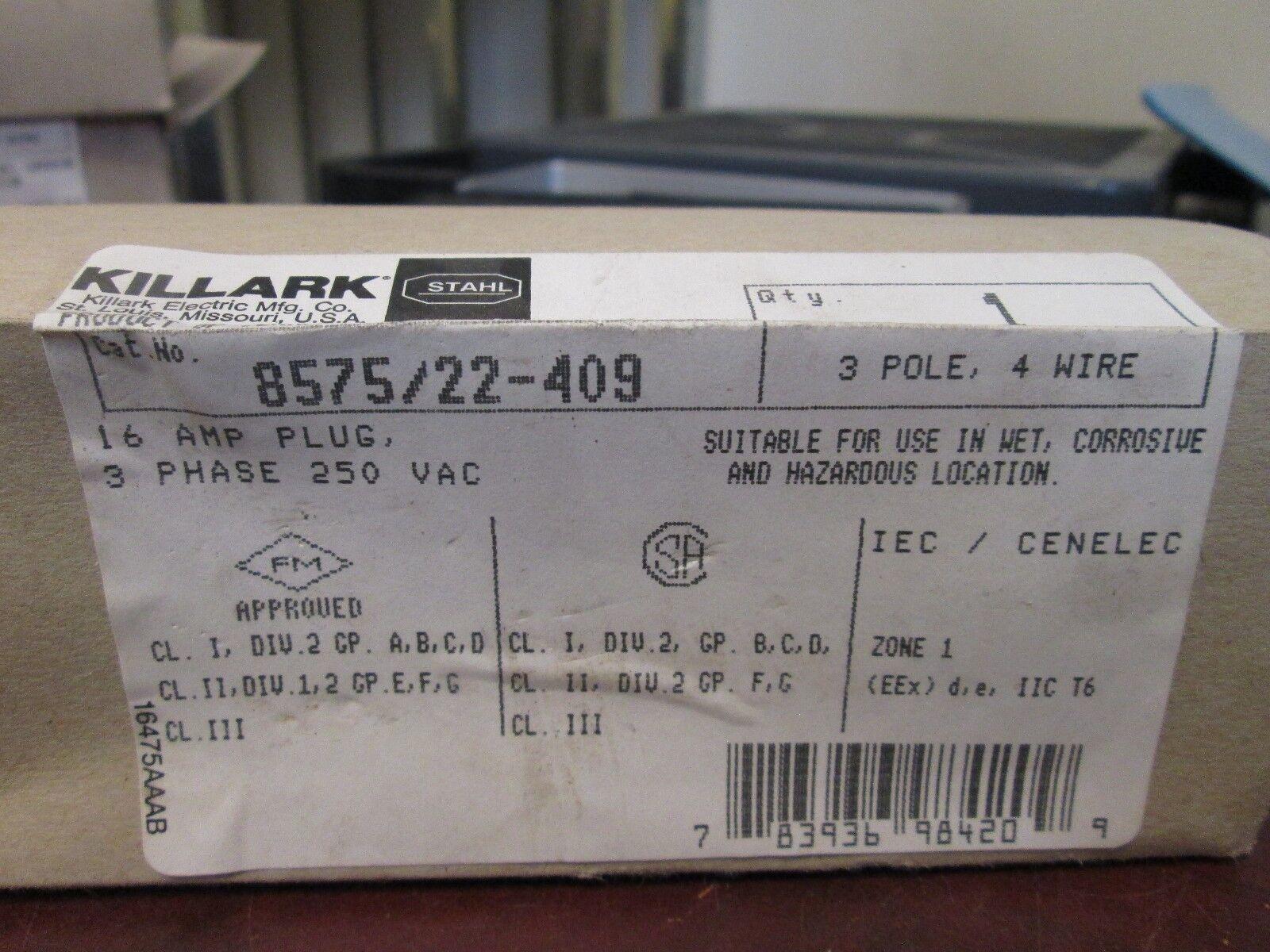 Killark Plug 8575//22-409 16A 250VAC 3P 4W 3Ph New Surplus