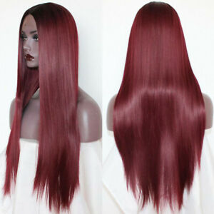 Ombre-Burgundy-Lace-Front-Wigs-Heat-Resistant-Synthetic-Long-Straight-Hair-Soft