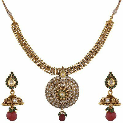 Indian Fashion Jewelry Antique Necklace Set Bollywood Ethnic Gold Traditional