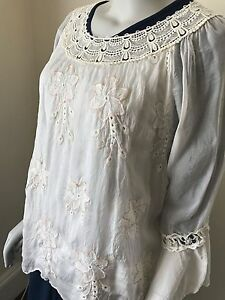 LAGENLOOK-LMT-Silk-Floral-Embroidery-Top-Blouse-UK-Size-8-16-NEW-EXQUISITE