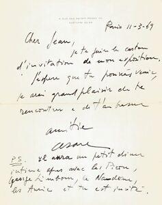 CESAR-Lettre-autographe-signee-a-propos-de-son-exposition-1969