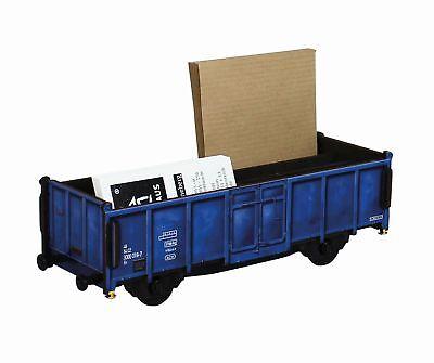 WE2097 Stiftebox Güterwagen Blau Wagon Zug Stifte- Köcher Halter Werkhaus