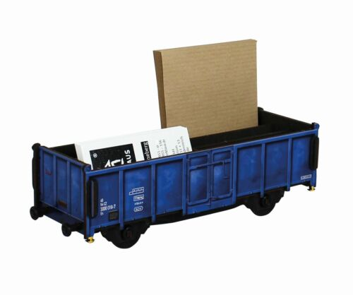 Werkhaus - Stiftebox Güterwagen Blau (WE2097) Wagon Zug Stifte- Köcher Halter